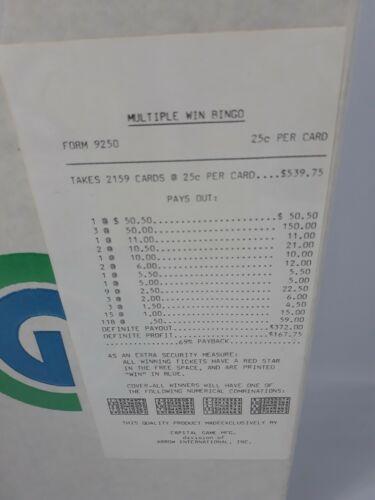 WINDOW PULL TAB TICKETS - Multiple Win Bingo  - 2159  Count - $ .25