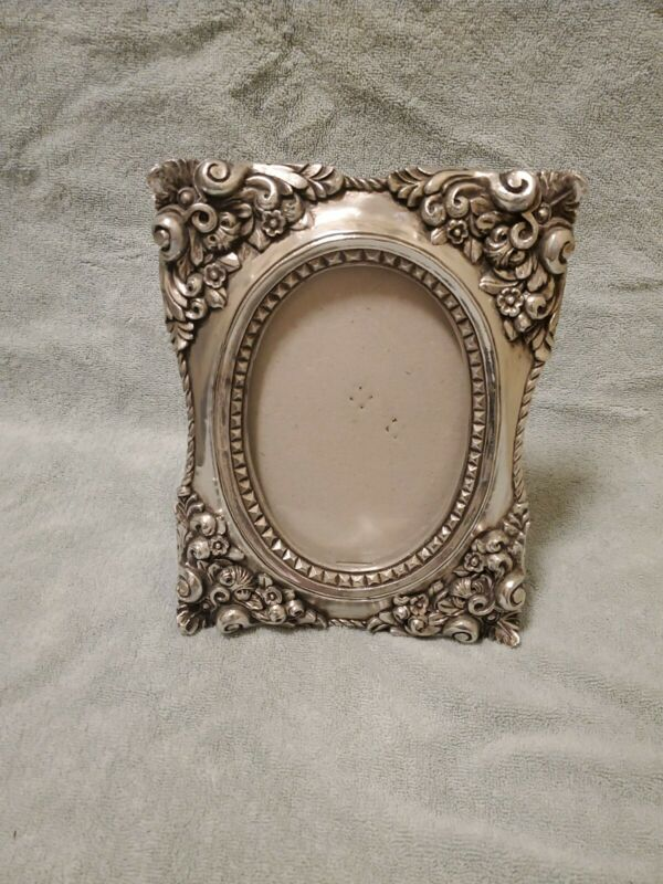Vintage  Ornate Pewter Picture Frame Oval Standalone