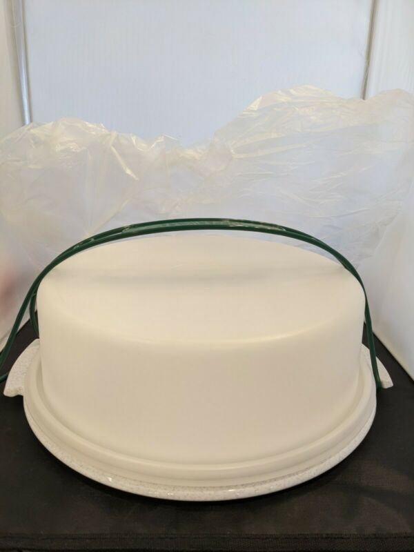 NEW  TUPPERWARE #719 #720 #721 Pie Cake Carrier w/Green Handle NOS Speckled