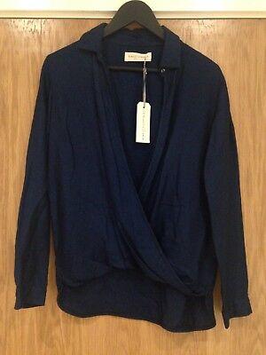 Designer King Tuckfield Woman's Small 100% Merino Navy Blue Polo Shirt BNWT