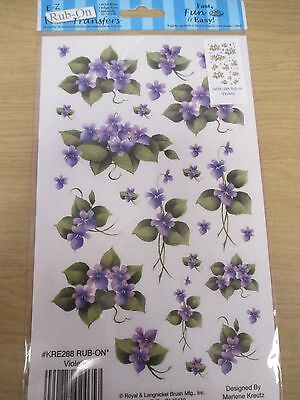E-Z Rub-On Transfers (Decals) - Violets / Flowers - Scrapbooking Card Making