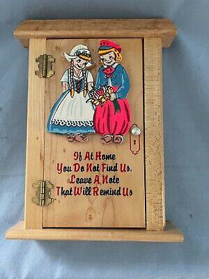 "Vintage Wood Dutch Children -  ""Leave a Note"""