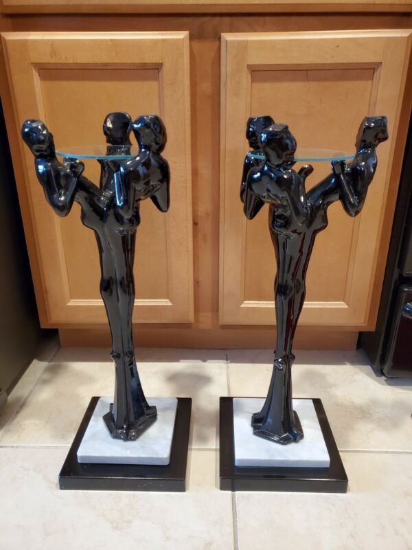 RARE Art Deco Three Graces Floor Ashtray Stands - Frankart - Black with Marble -