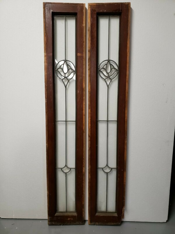 ANTIQUE BEVELED GLASS WINDOW  PAIR ARCHITECTURAL SALVAGE