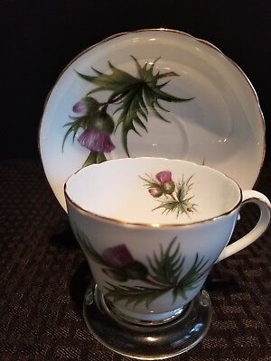 Adderley Bone China  Thistle Pattern Cup and Saucer