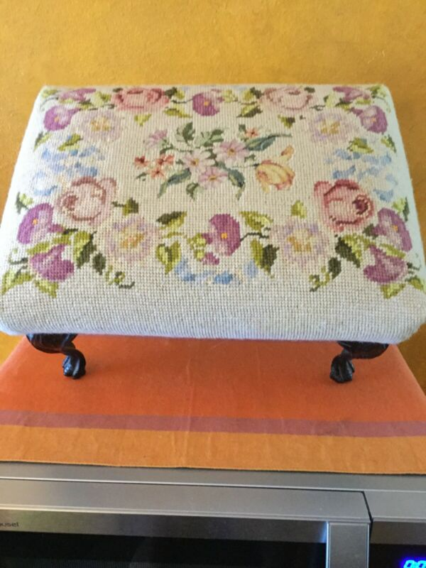 Vintage Needlepoint Foot Stool W Wrought Iron Legs