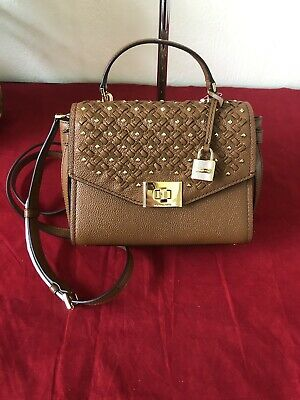 NWT Michael Kors Cassie Small Leather Messenger Satchel Luggage $378 (Luggage Leather Messenger)