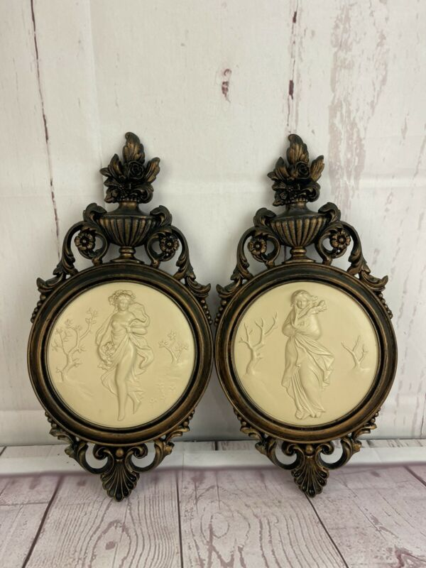 VINTAGE LADIES ORNATE WALL HANGING PLAQUES FRENCH PROVINCIAL WALL DECOR