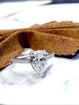 Lovely 1.60 Ct. Pear Cut Diamond Under Halo Pave Engagement Ring H,VS2 GIA 14K 2