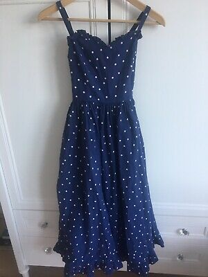 Gorgeous Vintage LAURA ASHLEY Cotton Spotty Dress Size 10/12