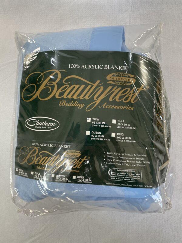 Beautyrest | 100% Acrylic Blanket | Twin Size 66 x 90 | Blue | Original Package