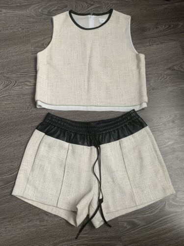 ALC Two Piece Set Leather Shorts Creme Crop Top Si