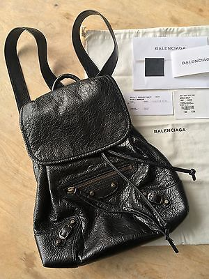 BALENCIAGA Black Leather Backpack Authentic Retail $1645 NWT
