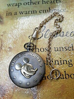 VINTAGE MICKEY MOUSE POCKET WATCH AND WATCH FOB