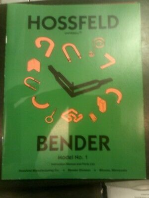 1 Hossfeld Bender Instruction Owners Manual Universal Pipe Tube Tubing Die No 1