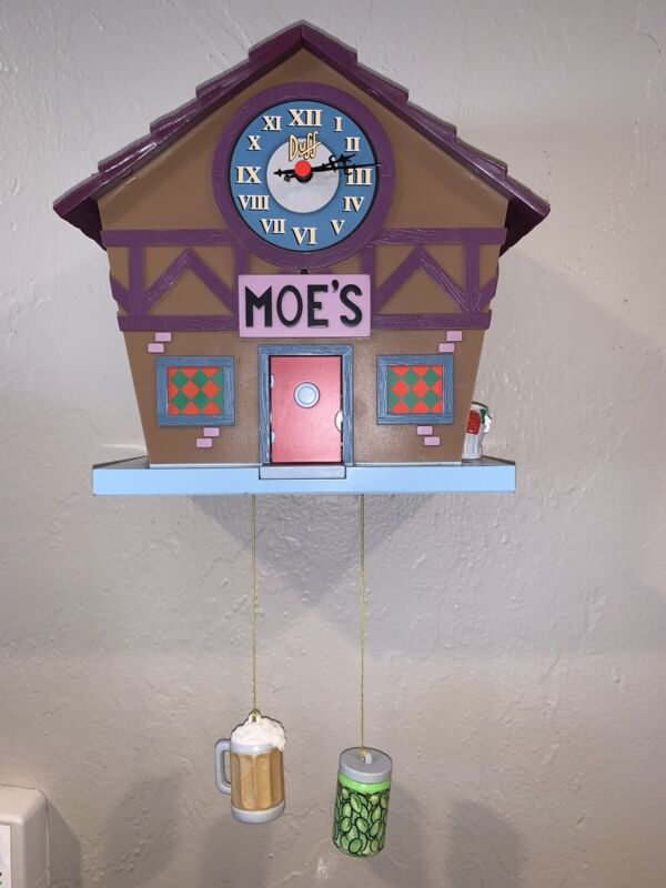 2005 Wesco Simpsons Moe's Tavern Cuckoo Clock Working In Original Box