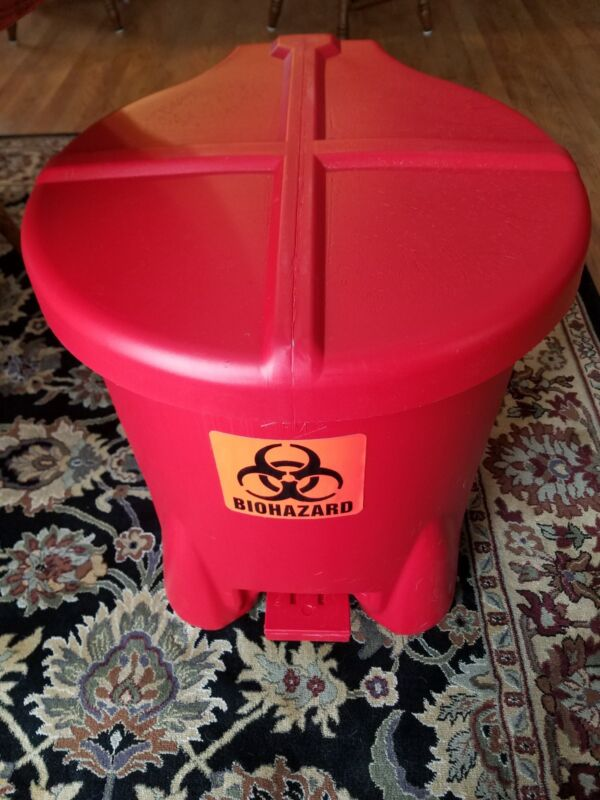 Biohazard Step On Waste Container,Red EAGLE 947BIO. 14 Gallon New in Box
