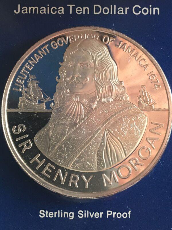 Sir H. MORGAN SILVER - HUGE - 1974 Jamaica 10 Dollars - World Silver Coin *686