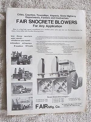 Vintage Fair Mfg.co. Snocrete Truck Tractor Snow Blowers Snowplow Brochure