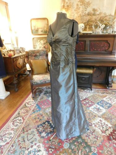 """BEAUTIFUL RAW SILK """"TERI JON"""" SILVER GRAY  RUCHED MOTHER/FORMAL GOWN S12"""