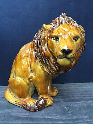 Large Vintage Mid Century Lion Sculpture Statue Safari Jungle African Room Decor