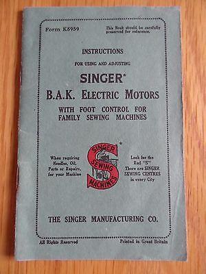 Vintage Singer B.A.K Electric Motors instruction booklet