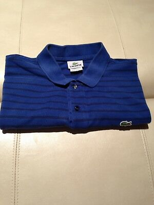 Mens Lacoste Blue/Black Polo Shirt, Alligator Logo Sz 6 Large (Authentic)