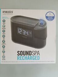 Homedics Sound Spa Recharged Alarm Clock w Projection 8 Nautre Sounds SS-5080B
