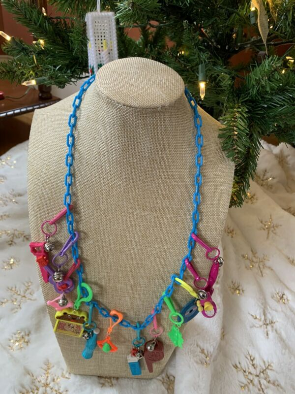 Vintage New 80's Plastic Bell Charm Necklace Retro Whistle Lighter Party 1980