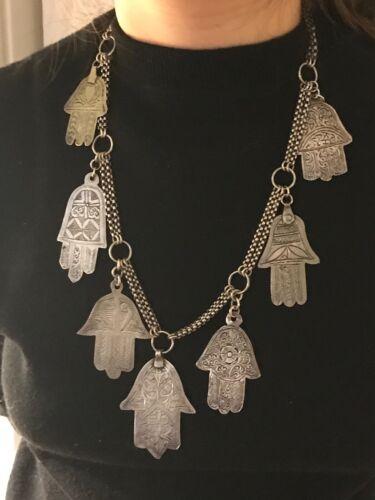 ANTIQUE Moroccan Berber Silver Hamsas Necklace. JEWELS.