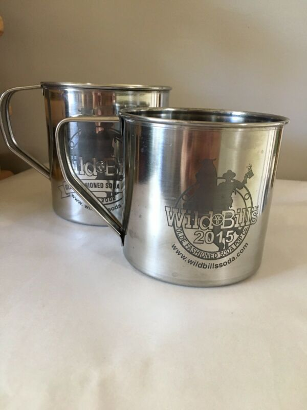 Wild Bills Olde Fashioned Soda Pop Co. Stainless Steel Mug Cup Two Mugs