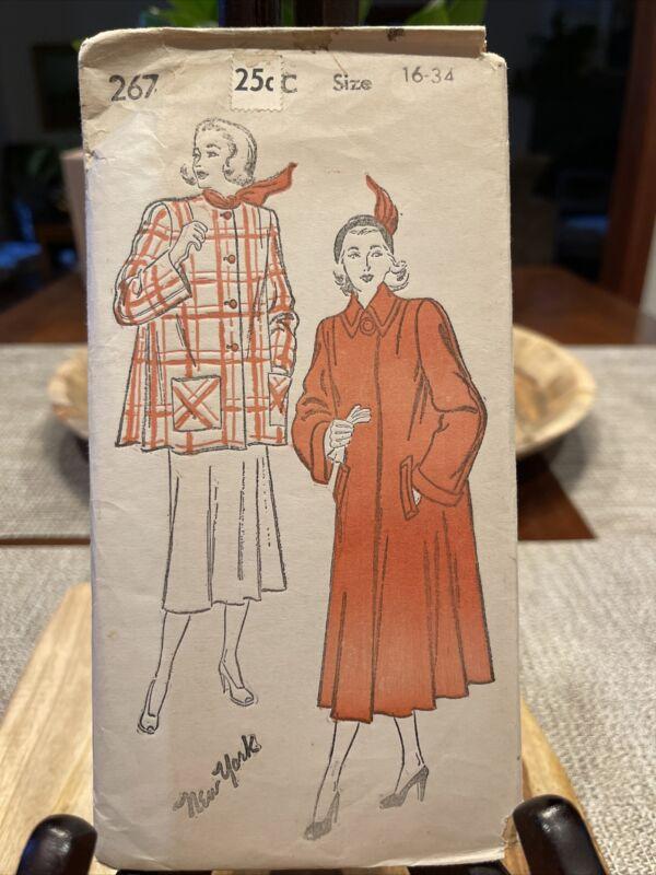 Vintage New York Pattern Swing Flare Coat 267 size 16 34