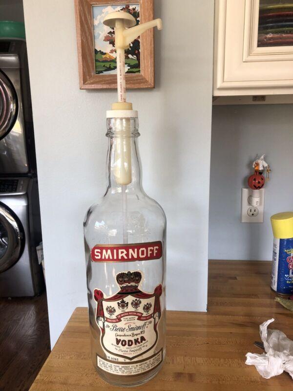 Vintage Smirnoff Vodka 1 Gallon Pump Dispenser Liquor Glass Bottle Barware Cool