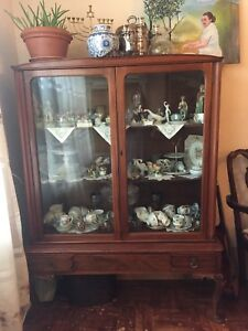 Antique Rose wood hutch display cabinet