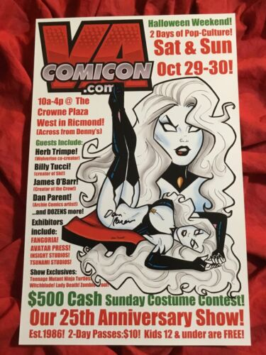 VA COMIC CON 25th ANNIVERSARY SHOW POSTER~LADY DEATH~SIGNED BY DAN PARENT~