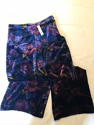 TRINA TURK NWT Floral Velvet Wide Leg Pants SZ 10 $330.00