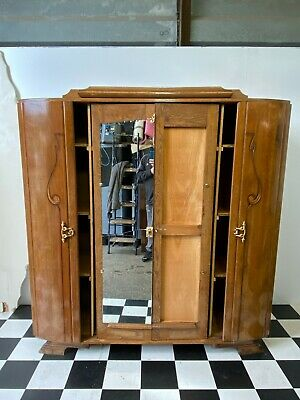 Large antique art deco nouveau carved oak wardrobe armoire cupboard - Delivery