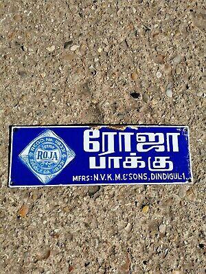 ANTIQUE VINTAGE INDIAN ROJA  ADVERTISING  ENAMEL  SIGN