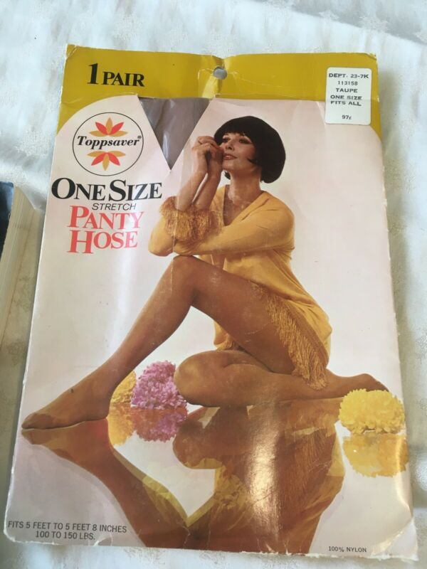 Vintage Toppsaver  nude Taupe pantyhose w/ model One Size