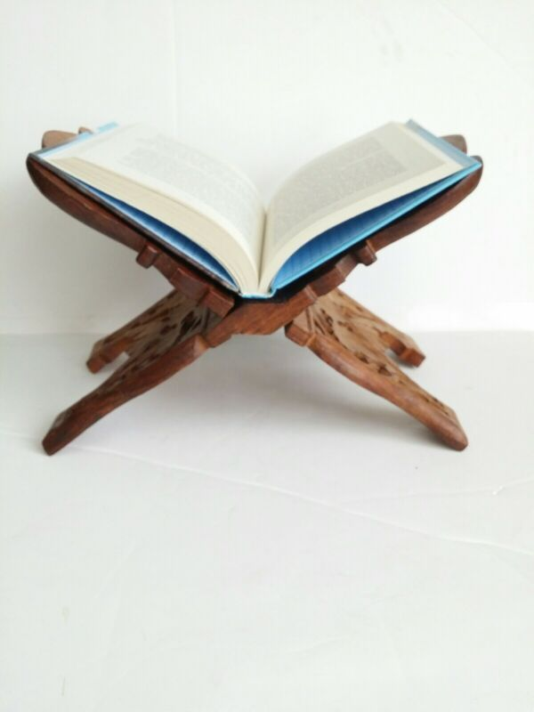 Hand Carved Wooden Cookbook Bible Book Holder Folding Stand India Sheesham Wood