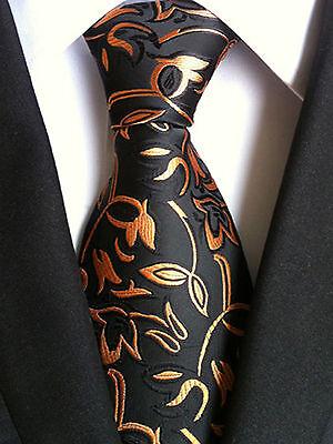 (NT125) Black Gold Bronze Floral Silk Blend Men Necktie Wedding Party Men Tie