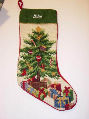 christmas tree Needlepoint XMAS Stocking Finished hoho holiday decor  18x7