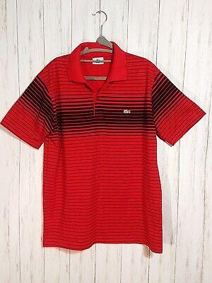 Vintage VTG Red Striped Lacoste Polo Shirt Green Crocodile Size 5  $EUC$