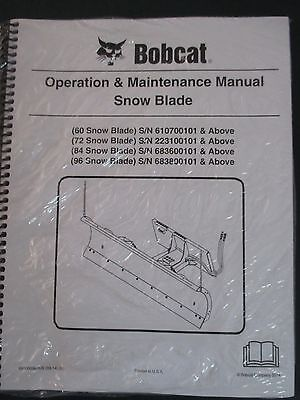Bobcat Skid Steer Snow Blade Plow Operation Maintenance Manual 60 72 84 96 14