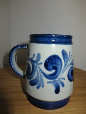 HANDARBEIT GERMANY BLUE SWIRL POTTERY MUG STEIN SALT GLAZE POTTERY