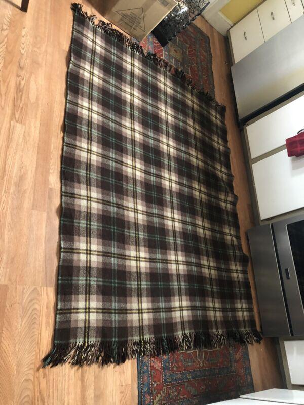 Antique Western NORTHERN OHIO BLANKET MILLS Wool Cowboy Horse Square Blanket Vtg