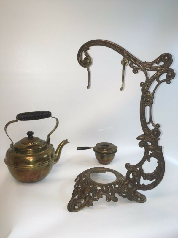 Antique Late 1800's Tea Pot w/ Warmer on a Cast Iron Stand by Bradley & Hubbard