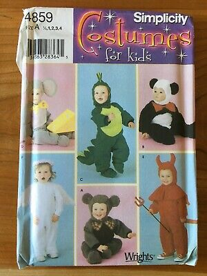 Simplicity 4859 Toddlers Halloween Costume Pattern Mouse Panda Bear Angel Devil
