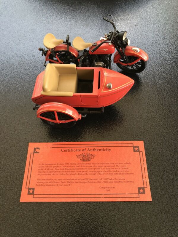 HARLEY DAVIDSON 1933 MOTORCYCLE SIDECAR BANK LIMITED EDITION 1:12 COA