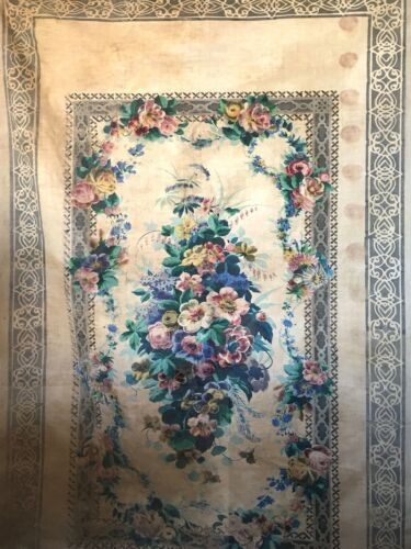 Beautiful 19th C. French Printed Floral Cotton Panel Fabric  (3016)